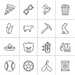 Set of 16 cartoon outline icons