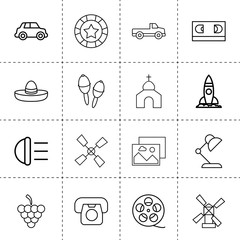 Set of 16 retro outline icons