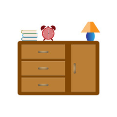 Book, alarm clock and lamp on wooden cabinet for interior in livingroom - Vector illustration