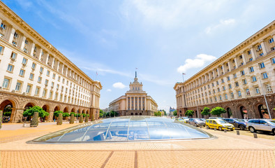 Cityscape of Sofia, Bulgaria on a sunny day. National Assembly building . Wall mural