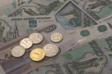 various russian money for illustration or background. different coins and banknotes