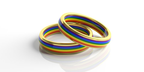 Pair of golden rainbow colors wedding rings isolated on white background, closeup view, 3d illustration