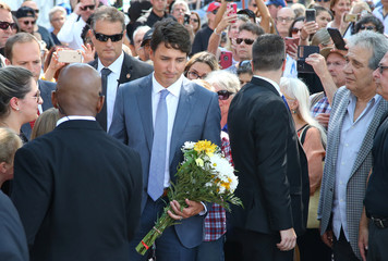 Canada's Prime Minister Justin Trudeau attends the site of the mass shooting on Danforth Avenue in Toronto