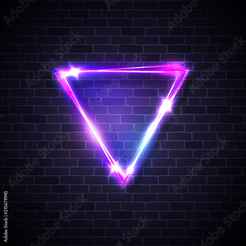 Inverted triangle border with light effects on brick texture wall