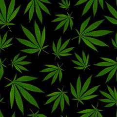 texture for design textile. green leaves on black background. Ganja Marijuana Weed Seamless Pattern