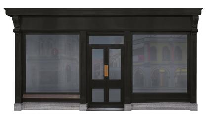 Schaufenster mit schwarzem Holz eingerahmt und freigestellt auf weißem Hintergrund