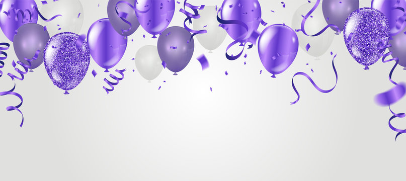 Stock vector illustration party flying purple realistic balloons purple . Defocused macro effect. Templates for placards, banners