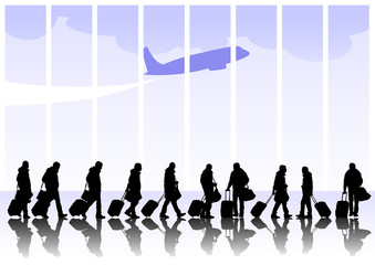 Wall Mural - People travelers with suitcases on white background