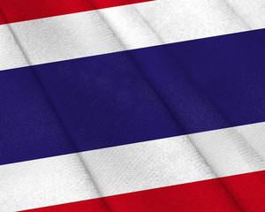 Realistic flag of Costa Rica on the wavy surface of fabric