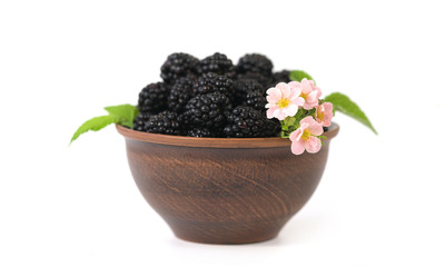 Blackberry in a clay plate. White background. Fresh berries.