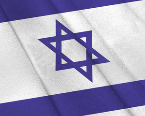Realistic flag of Israel on the wavy surface of fabric
