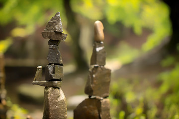 Use of natural stones in the decorated garden, Japanese garden of stones.