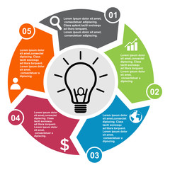 5 step vector element in five colors with labels, infographic diagram. Business concept of 5 steps or options with bulb
