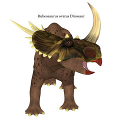 Rubeosaurus Dinosaur on White with Font - Rubeosaurus was a Ceratopsian herbivorous dinosaur that lived during the Cretaceous Period of North America.