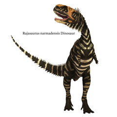 Rajasaurus Dinosaur on White with Font - Rajasaurus was a carnivorous theropod dinosaur that lived in India during the Cretaceous Period.