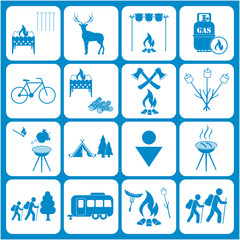 Set of travel and camping equipment icons