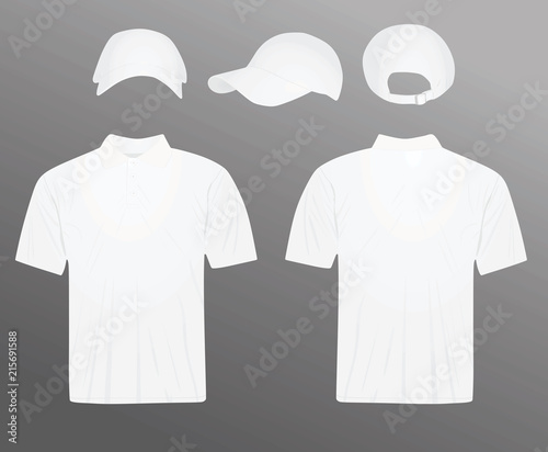 6057900f1 White polo t shirt and baseball cap. vector illustration