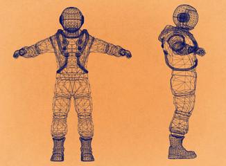 Astronaut - Retro Architect Blueprint