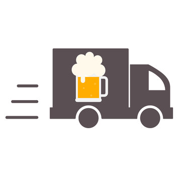 Beer Delivery. Symbol Template Logo. Isolated vector illustration