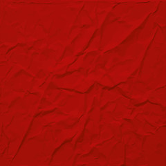 Red wrinkled paper texture, abstract vector background