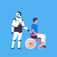 Wall Mural - bot helper hold man wheelchare medical care personal assistant chat bubble communication robot character artificial intelligence concept blue background flat full length vector illustration