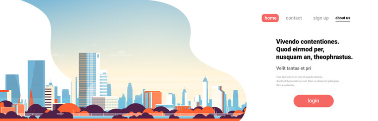 modern city skyline skyscrapers buildings view cityscape background flat horizontal banner copy space vector illustration