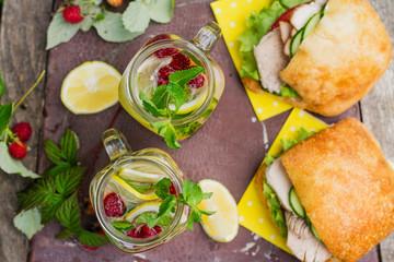 Lemonade and turkey sandwiches