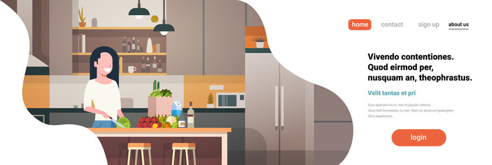 woman cook kitchen interior girl chopping vegetables cooking at home faceless smile character horizontal banner flat copy space vector illustration