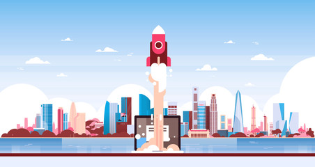 startup rocket innovation over city skyscraper panorama view cityscape background skyline flat horizontal banner vector illustration