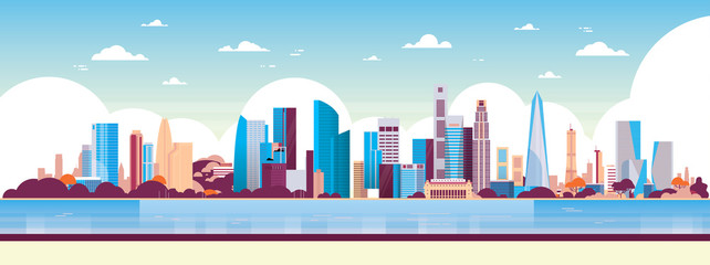 modern city skyscraper panorama view cityscape background skyline flat horizontal banner vector illustration