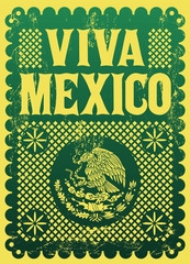 Viva Mexico mexican holiday vintage vector poster, street decoration illustration.