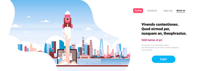 startup rocket innovation over city skyscraper panorama view cityscape background skyline flat horizontal banner copy space vector illustration