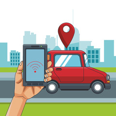 Hand using smartphone to track car at city vector illustration graphic design