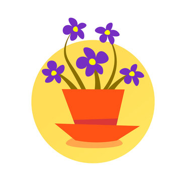 Domestic potted plant cute isolated round frame