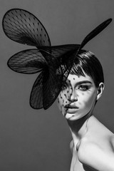 Woman wearing fascinator