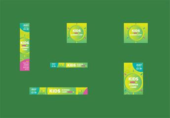 Kids Summer Camp Web Banner Layout Set