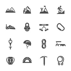 Climbing equipment icons