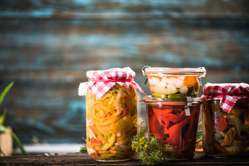 Pickled and Fermented vegetables in jars