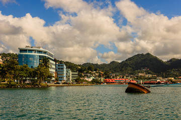 View of Castries, Saint Lucia marina. Beautiful port of call in the Caribbean.
