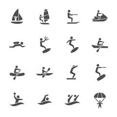 Water sports icon set