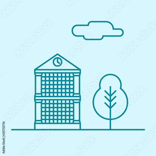 Vector city thin line office building with tree and cloud