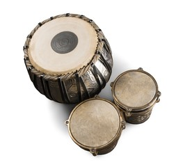 Water Drum with Two Djembe Bongo - Isolated