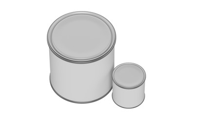 3D realistic render. Composition of two isolated paint can with white lid. Big and small. Design template.