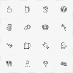 Beer line icon set with beer tank, mill and lobster