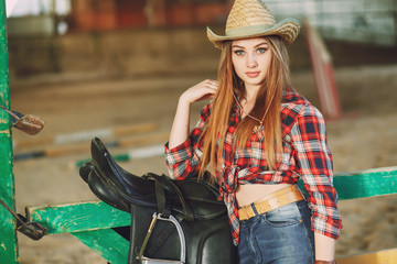 girl in the barn