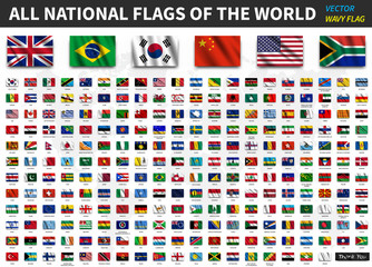 All national flags of the world . Realistic waving fabric texture with shadow design . Vector