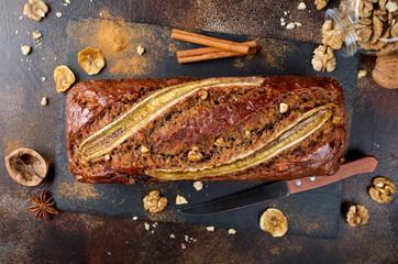 Homemade banana bread with walnut and cinnamon