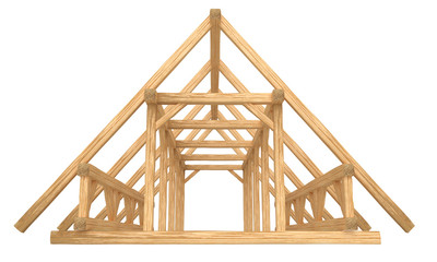 3D render of fresh new wood roof construction. Isolated on white background.