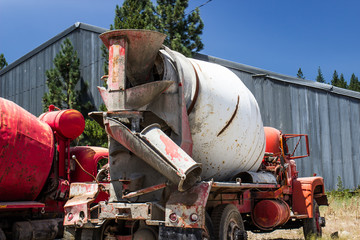 Old Abandoned Cement Mixer In Salvage Yard