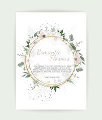 Floral wreath with green eucalyptus leaves, flower rose, anemone . Frame border with copy space eps10